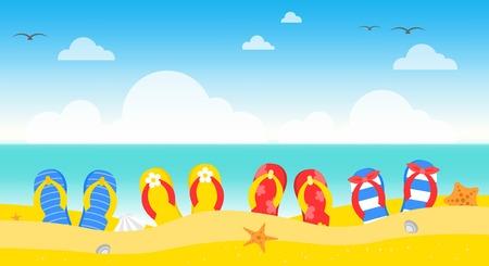 Illustration pour Summer time, Summer beach poster vector illustration - image libre de droit