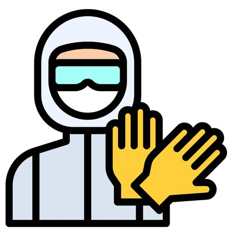 Illustration pour Personal protective equipment vector illustration, filled design icon - image libre de droit