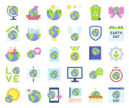 Illustration pour International Mother Earth Day related icon set 2, vector illustration - image libre de droit
