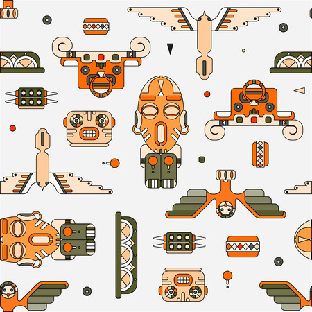 bright colored totem elements seamless vector pattern