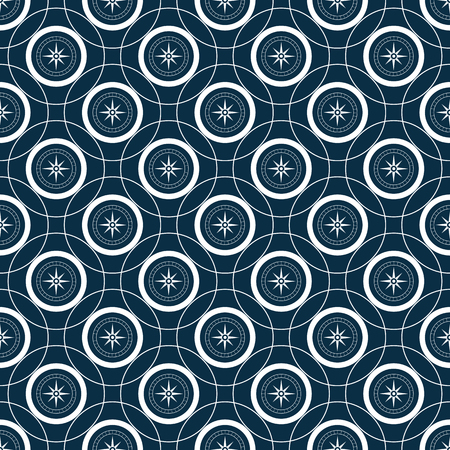 Mariner compas sseamless pattern with intersecting circles