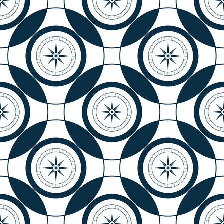 Mariner compass. Wind rose seamless pattern. Sea Style.