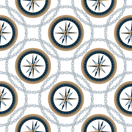 Marine seamless vintage pattern with nautical compass and chain