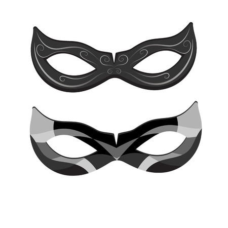 Illustration pour Beautiful black lace masquerade mask isolated on white background. Vector illustration - image libre de droit