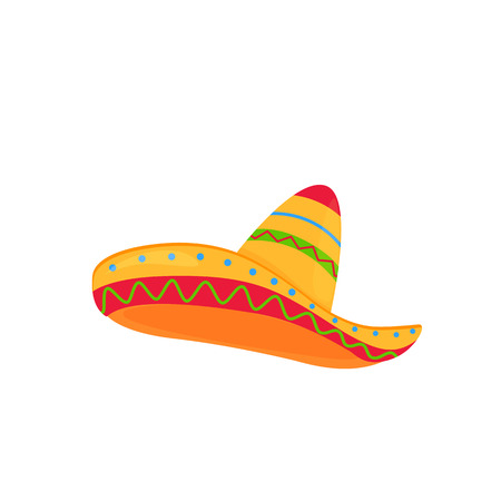 Illustration for sombrero. mexican hat vector isolated on white background - Royalty Free Image