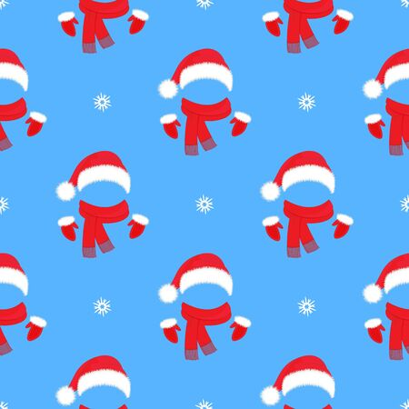 Illustration for Christmas seamless pattern. Santa Claus hat, mittens and scarf. New Year s decoration - Royalty Free Image