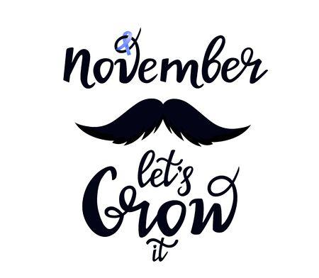 Illustration pour Prostate cancer awareness month. Mustache. Let s Grow it hand drawn lettering. Blue november. Men s health concept. Ribbon. - image libre de droit
