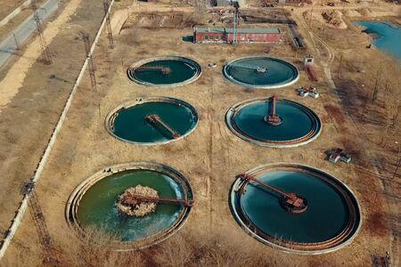 Photo pour Treatment facilities, wastewater treatment infrastructure. Sewage treatment - image libre de droit