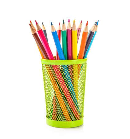 Foto de Colored pencils in pencil case isolated on white background. - Imagen libre de derechos