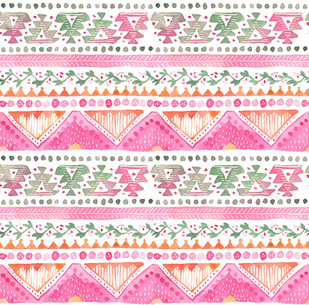 Foto de Seamless hand-drawn Watercolor Ethnic Tribal Ornamental Pattern. - Imagen libre de derechos