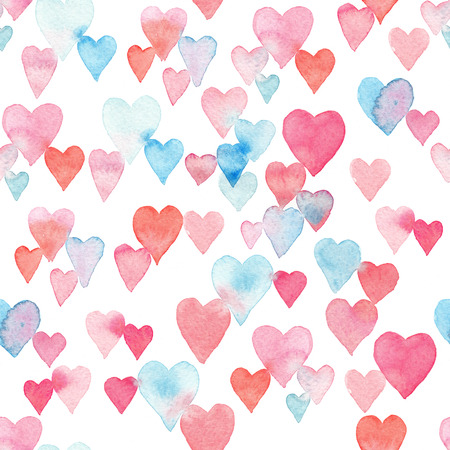 Photo for Seamless watercolor pattern with colorful hearts - pink, purple, blue tints. - Royalty Free Image