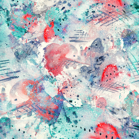 Foto de Abstract watercolor seamless pattern with splatter spots, lines, drops, splashes and hearts - Imagen libre de derechos