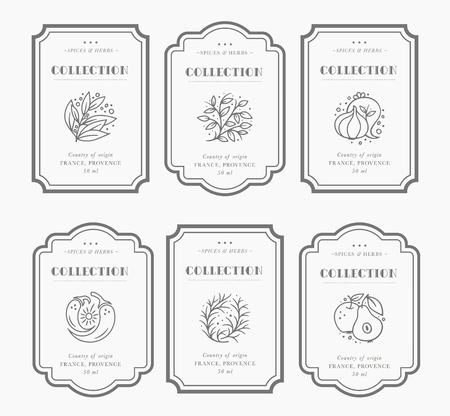 Illustration for Customizable black and white Pantry label collection. Vintage packaging design templates for Herbs and Spices, dried fruit, vegetables, nuts etc - Royalty Free Image