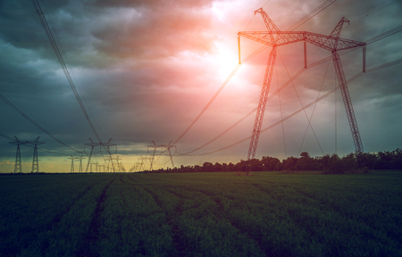 Photo for high-voltage  power lines at sunset. electricity distribution station. high voltage electric transmission tower. - Royalty Free Image