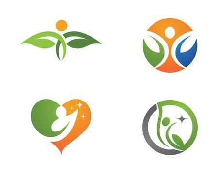 Ilustración de Human character with leaf logo sign illustration vector design - Imagen libre de derechos