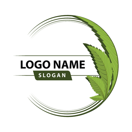 Illustration for medical marijuana, cannabis green leaf logo. vector illustration. - Royalty Free Image