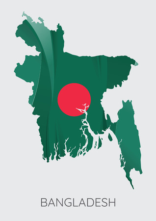 Map Of Bangladesh With Flag As Texture Isolated On Grey Background. Vector Illustration