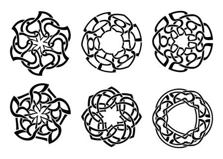 Round Celtic Ornament Intertwined vector illustration. decorative Celtic knots and curls set.