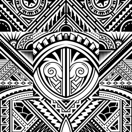 Illustration pour Polynesian style tribal tattoo fabric vector seamless pattern - image libre de droit