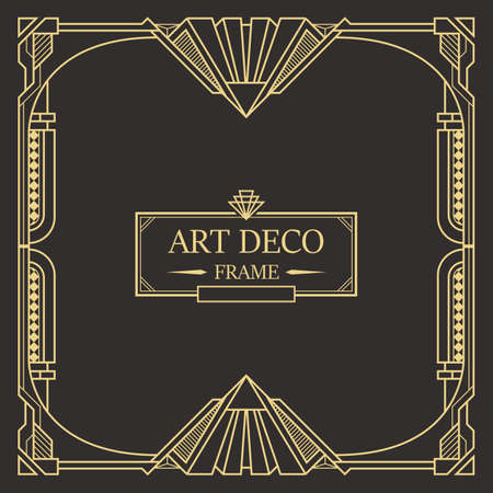 Illustration pour Art deco border and frame. Creative template in style of 1920s for your design. Vector illustration. EPS 10 - image libre de droit