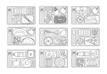 Vektor für Set lunches on a tray. Line style. Healthy food. Element for tour design. Vector illustration. - Lizenzfreies Bild