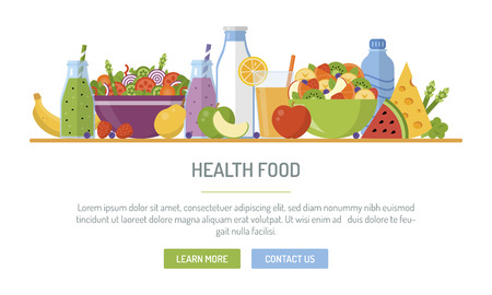 Illustration pour Flat design web banner. Health food. Vector illustration for web design, marketing, graphic design. - image libre de droit