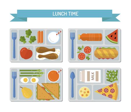 Vektor für Set lunches on a tray. Healthy food. Business or school lunch. Flat style. Vector illustration. - Lizenzfreies Bild