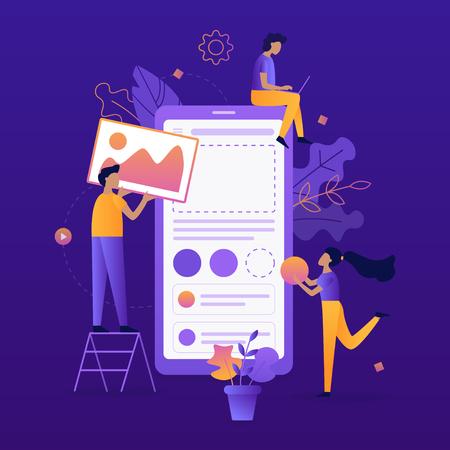 Illustration pour Team of developers construct mobile app. UI/UX design. Flat vector illustration. - image libre de droit