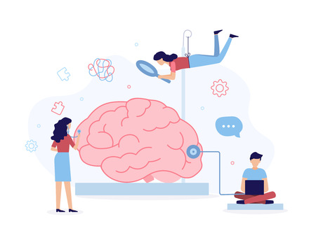 Illustration for A team of specialists helps with brain problems. Mental health concept. Flat vector illustration.  - Royalty Free Image