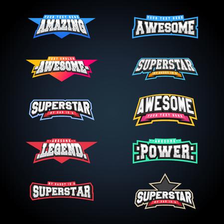 Ilustración de Sport emblem typography set. Super logo for your t-shirt. Mega logotype collection - Imagen libre de derechos