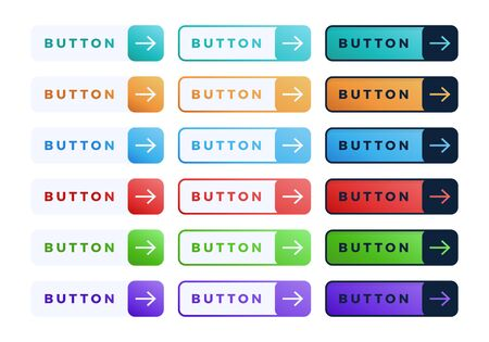 Illustration pour Colorful vector button set on white background. Three style Flat line gradient slide button collection with text and arrow. Vector web element. Round, square and rectangle shapes - image libre de droit