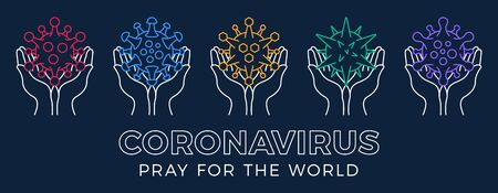 Illustration pour Set Pray for the World coronavirus concept with hands vector illustration. Collection Time to pray Corona Virus 2020 covid-19. Coronavirus   vector illustration. Bundle Virus Covid 19-NCP. - image libre de droit