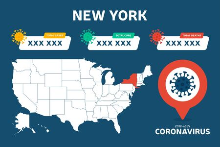 Covid 19 New York State Usa Map Confirmed Cases Cure Deaths Report Coronavirus Disease 2019 Situation Update Worldwide America Maps And News Headline Show Situation And Stats Background Royalty Free Vector Graphics
