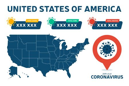 Covid 19 Usa Map Confirmed Cases Cure Deaths Report Worldwide Globally Coronavirus Disease 2019 Situation Update Worldwide America Maps And News Headline Show Situation And Stats Background Royalty Free Vector Graphics