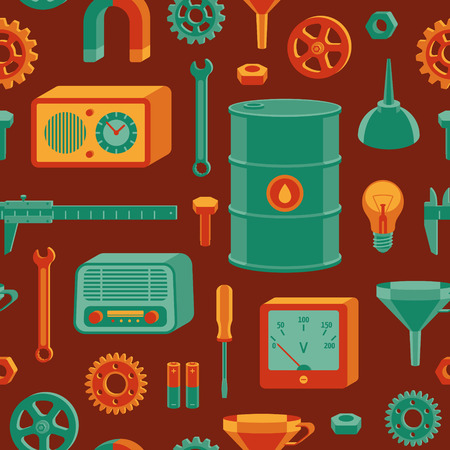 Vector seamless pattern with different tools.