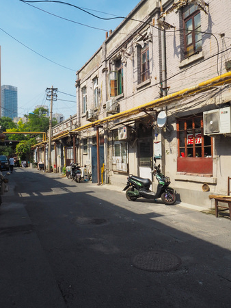 Tianjin, China - September 2017: Traditional neighborhood with old houses in the french concession in the city center of Tianjin