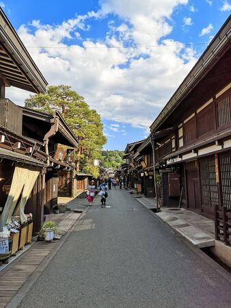 Photo for City center of the old traditional Japanese mountain town Takayama in Gifu prefecture with authentic wooden buildings - Royalty Free Image