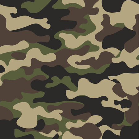 Illustration for Camouflage seamless pattern background. Classic clothing style masking camo repeat print. Green brown black olive colors forest texture. Design element. Vector illustration. - Royalty Free Image