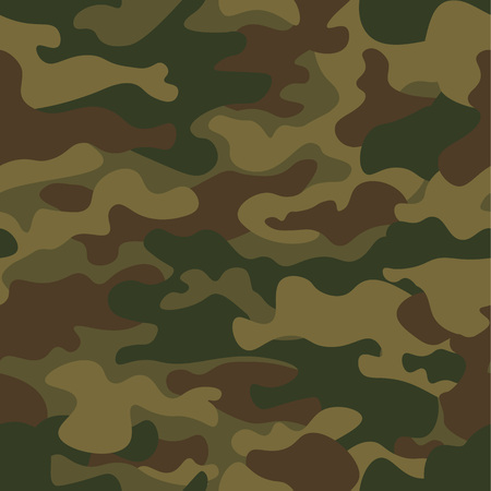 Ilustración de Seamless camouflage pattern. Khaki texture, vector illustration. Camo print background. Abstract military style backdrop. - Imagen libre de derechos