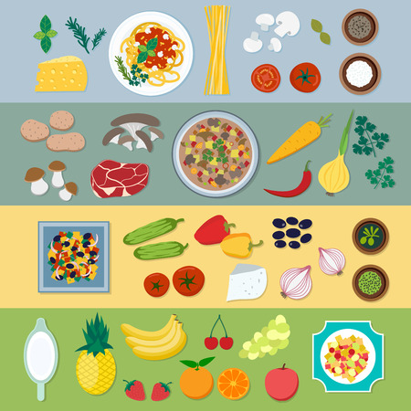 Food ingredients vector flat illustration. Food ingredients with different plates: pasta, soup, salad, desserts. Vegetables and food ingredients on the table top view