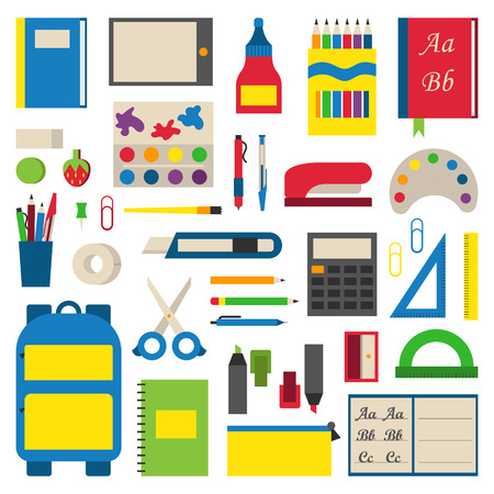 Illustration pour Selection of various individual school supplies on white background. Student tools school supplies and paper accessories learning school supplies. Collection vibrant materials school supplies. - image libre de droit