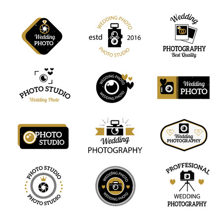 Set Of Photography And Photo Studio Logo Black Colour Vector Photographer Logo Design Elements Business Signs Identity Labels Badges Other Branding Objects For Your Business Photographer Logo Royalty Free Vector Graphics
