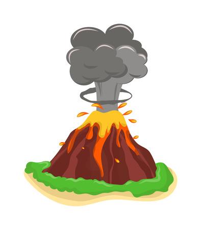 Ilustración de Volcano eruption stromboli with spectacular eruptions. Eruption crater mountain volcano hot natural eruption nature. Volcano erupt ash fire hill landscape outdoor geology eruption exploding ash. - Imagen libre de derechos