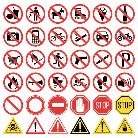Illustration pour Prohibition signs set vector illustration. Warning danger symbol prohibiting signs. Forbidden safety information prohibiting signs. Protection signs no pet warning information sign. - image libre de droit