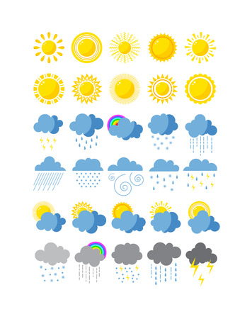 Illustration for Mega pack of weather icons snow climate, sun forecast, rainy storm. Snowflake set wind moon cloud weather icons. Weather icons cloudy design sky nature temperature sunny, cold thunderstorm season. - Royalty Free Image