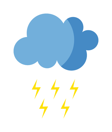 Lightning vector icon storm cloud. Storm cloud weather sky dark nature dramatic cloudscape. Danger stormy, thunderstorm symbol storm cloud natural scenic meteorology overcast scene.