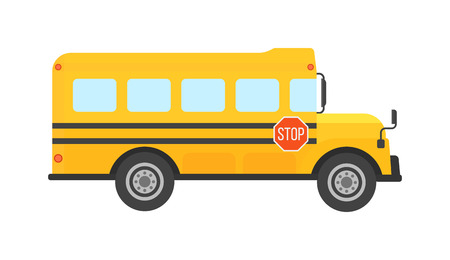 Illustration pour Illustration of school kids riding yellow schoolbus transportation education. Student child isolated school bus safety stop drive vector. Travel automobile school bus public trip childhood truck. - image libre de droit