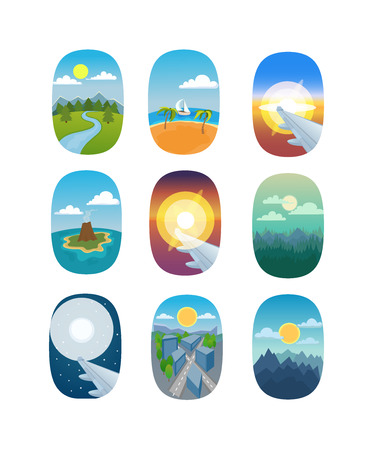 Illustration pour Airplane window nature outdoor landscape view. Airplane window view holiday vacation. Airline, travel, clouds sunset airplane window view. Nature travel travel airplane view - image libre de droit