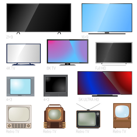 Illustration pour TV screen lcd monitor and notebook, tablet computer, retro templates. Electronic devices TV screens infographic. Technology digital device TV screens, size diagonal display vector illustration. - image libre de droit