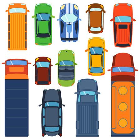 Ilustración de Vector cars icon set. From above car top view. Includes sedan commercial van truck wagon, cabrio, sport car, hatchback vehicles. Transportation vehicle collection design car top view motor van. - Imagen libre de derechos